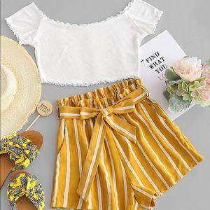 Zaful White crop top + Yellow striped shorts